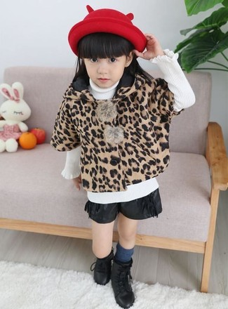 Girls' Looks & Outfits: What To Wear In Cold Weather: Suggest that your mini fashionista pair a tan leopard coat with black leather shorts for a trendy and easy going look. Complement this getup with black boots.