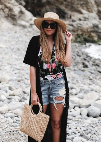 How to wear: tan straw tote bag, light blue ripped denim shorts, black floral swimsuit, black kimono