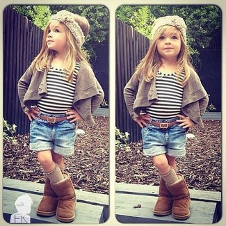 How to wear: brown uggs, blue denim shorts, white horizontal striped t-shirt, brown cardigan
