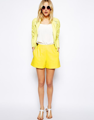 How to wear: white leather thong sandals, yellow shorts, white tank, yellow leather biker jacket