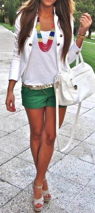 How to wear: beige leather heeled sandals, green shorts, white tank, white blazer