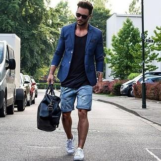 How to wear: white low top sneakers, blue denim shorts, black tank, blue blazer