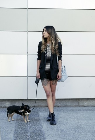 How to wear: black leather lace-up flat boots, black leather shorts, black and white horizontal striped tank, black blazer