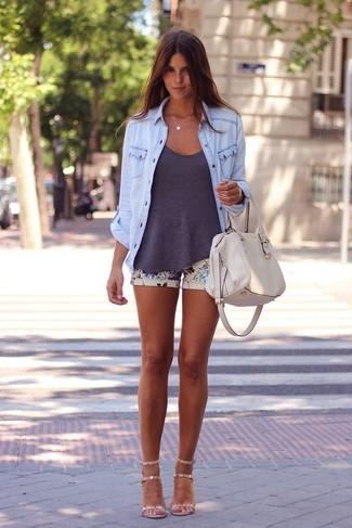 How to wear: beige leather heeled sandals, beige floral shorts, charcoal tank, light blue denim shirt