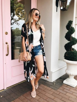 How to wear: beige suede flat sandals, blue ripped denim shorts, white lace tank, black floral kimono