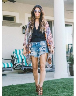 How to wear: brown leather heeled sandals, blue ripped denim shorts, black tank, multi colored geometric kimono