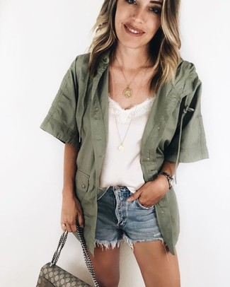 How to wear: beige print canvas satchel bag, light blue denim shorts, white silk tank, olive military jacket