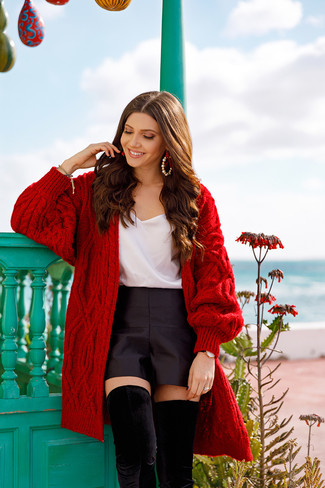 How to wear: black suede over the knee boots, black satin shorts, white silk tank, red knit open cardigan