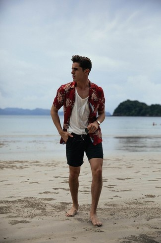 How to wear: black sunglasses, black shorts, white tank, burgundy floral short sleeve shirt