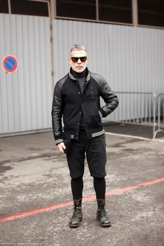 How to wear: charcoal leather casual boots, charcoal shorts, charcoal turtleneck, black leather bomber jacket