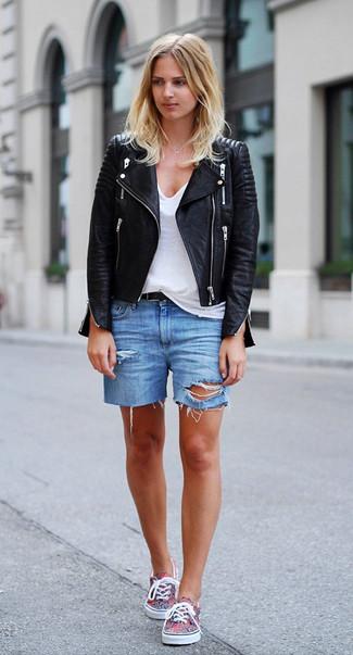 How to wear: multi colored plimsolls, blue ripped denim shorts, white v-neck t-shirt, black leather biker jacket