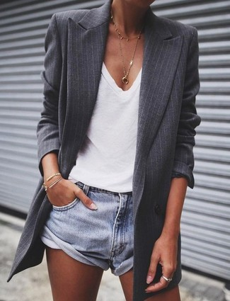 How to wear: gold pendant, light blue denim shorts, white v-neck t-shirt, charcoal vertical striped blazer