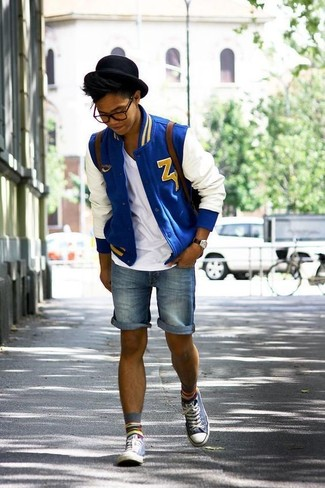 How to wear: grey high top sneakers, blue denim shorts, white v-neck t-shirt, white and blue bomber jacket