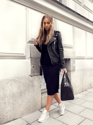 How to Wear Silver Athletic Shoes For Women: This casual combo of a black leather biker jacket and a black sweater dress is very easy to throw together in next to no time, helping you look seriously stylish and prepared for anything without spending too much time rummaging through your wardrobe. Let your expert styling truly shine by finishing off this look with a pair of silver athletic shoes.