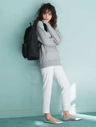 How to wear: black canvas backpack, silver leather ballerina shoes, white vertical striped tapered pants, grey sweatshirt