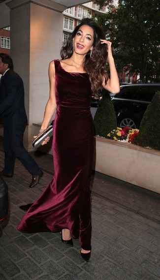 Women's Looks & Outfits: What To Wear In 2020: For a look that's sophisticated and camera-worthy, wear a burgundy velvet evening dress. Let your sartorial chops really shine by finishing off your look with a pair of black satin pumps.