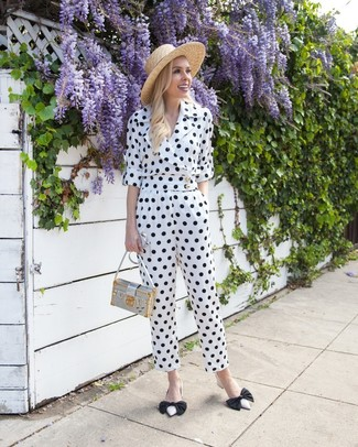 How to wear: khaki straw hat, silver leather crossbody bag, white and black leather pumps, white and black polka dot jumpsuit