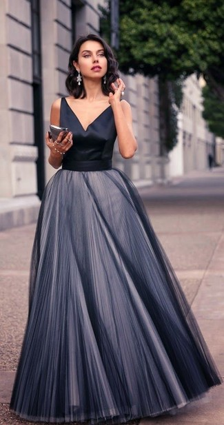 How to wear: silver earrings, black pleated chiffon evening dress
