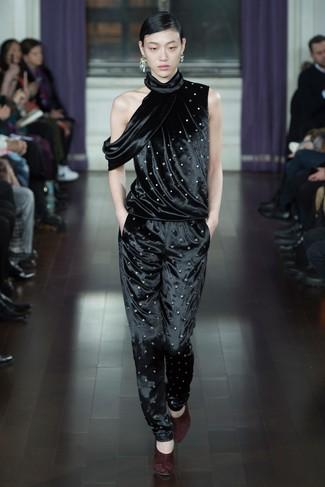 How to wear: silver earrings, burgundy suede pumps, black velvet jumpsuit