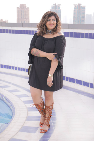 How to wear: silver embellished choker, brown leather knee high gladiator sandals, black off shoulder dress