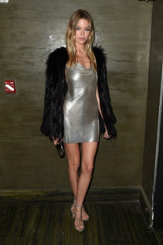 How to wear: black clutch, silver leather heeled sandals, silver bodycon dress, black fur coat