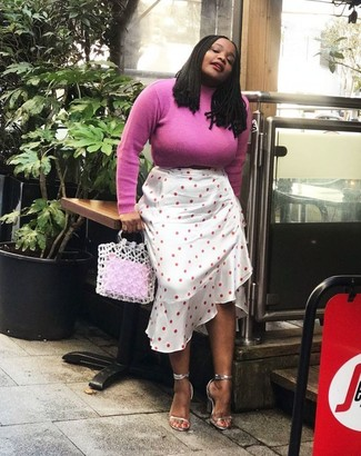 How to wear: white crochet tote bag, silver leather heeled sandals, white polka dot midi skirt, hot pink turtleneck
