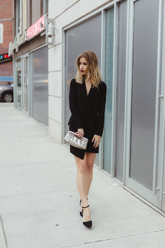 How to wear: silver leather clutch, black embellished suede pumps, black tuxedo dress