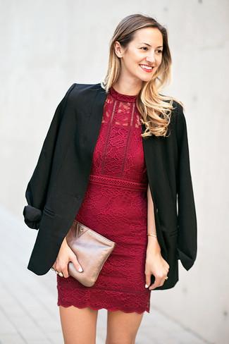 How to wear: silver leather clutch, burgundy lace bodycon dress, black blazer