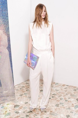 How to wear: silver leather clutch, silver leather platform loafers, beige jumpsuit