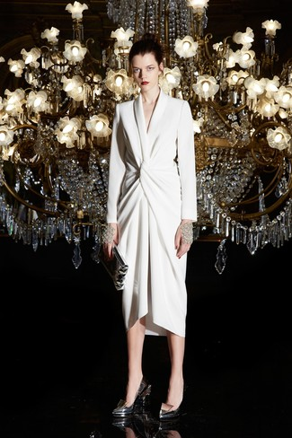 How to wear: silver leather clutch, silver leather pumps, white wrap dress