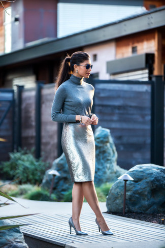 How to wear: silver leather pumps, silver sequin pencil skirt, grey turtleneck