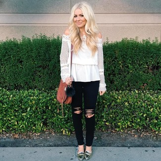 How to wear: brown leather crossbody bag, silver leather loafers, black ripped skinny jeans, white lace off shoulder top