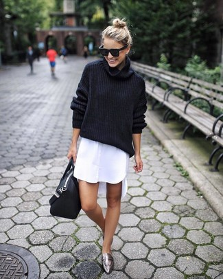 How to wear: black leather tote bag, silver leather loafers, white shirtdress, black wool turtleneck