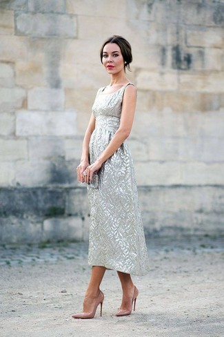How to wear: silver midi dress, tan leather pumps, silver clutch, clear ring