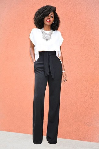 How to wear: silver necklace, black wide leg pants, white cropped top