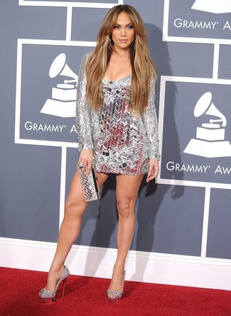 Jennifer Lopez wearing Silver Party Dress, Silver Embellished Leather Pumps, Silver Clutch, Silver Ring