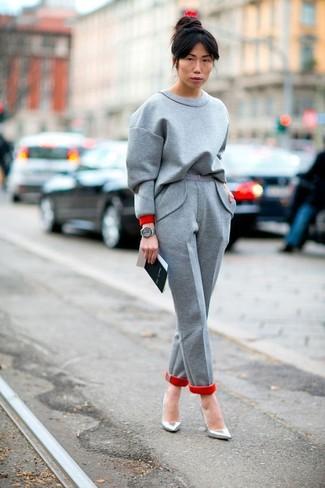 How to wear: grey leather watch, silver leather pumps, grey wool dress pants, grey sweatshirt