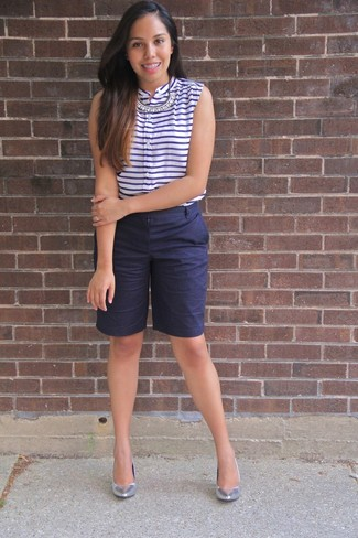 How to wear: clear necklace, silver leather pumps, navy bermuda shorts, white and navy horizontal striped sleeveless top