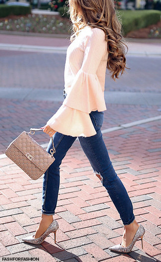 How to wear: beige quilted leather satchel bag, silver sequin pumps, navy ripped skinny jeans, pink ruffle long sleeve blouse