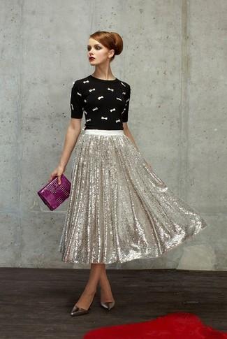 Midi Skirt In Camo Jacquard Silver