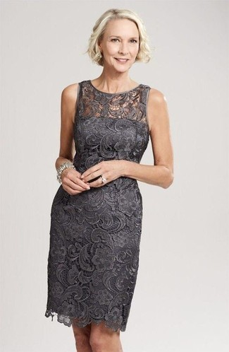 How to wear: silver ring, silver bracelet, charcoal lace sheath dress