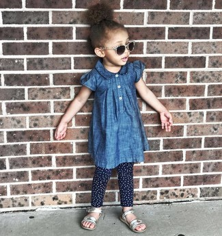 Girls' Silver Sandals, Navy Polka Dot Leggings, Blue Denim Dress
