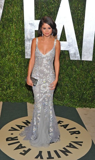Selena Gomez wearing Silver Sequin Evening Dress, Silver Sequin Clutch