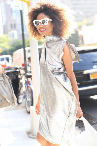 How to wear: silver shift dress, silver leather handbag, black and white sunglasses