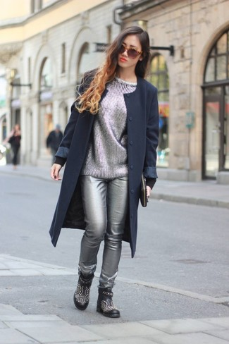How to wear: black studded leather ankle boots, silver leather skinny pants, silver crew-neck sweater, navy coat