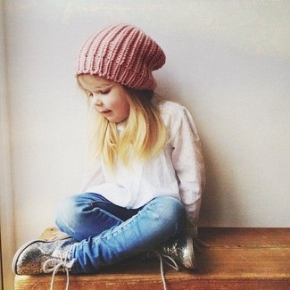 How to Wear a Pink Beanie For Girls: Opt for your darling's comfort with this combo of a white long sleeve shirt and a pink beanie. This look is complemented nicely with silver sneakers.