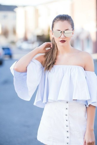 How to wear: silver sunglasses, white button skirt, light blue off shoulder top