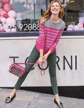 How to wear: hot pink leopard leather crossbody bag, silver leather tassel loafers, dark green skinny jeans, hot pink horizontal striped crew-neck sweater
