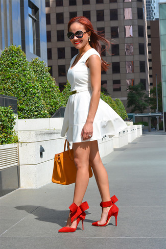 How to wear: white skater dress, red suede pumps, orange leather tote bag, white leather belt