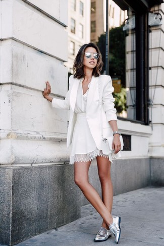 How to wear: silver leather loafers, white lace skater skirt, white button down blouse, white blazer